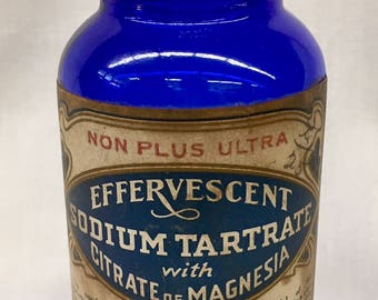 Antique Cobalt Blue R. DeAngelis Sodium Tartrate Citrate of Magnesia Laxative Medicine Bottle with English Italian Label from Providence, RI