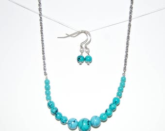 Blue Marble Necklace and Earring Set