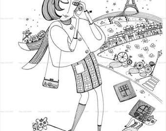 Girl in Paris ,Graphics Art Print, Instant Digital Download