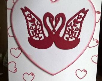 Handmade Swan Love Greeting Birthday Valentines Card