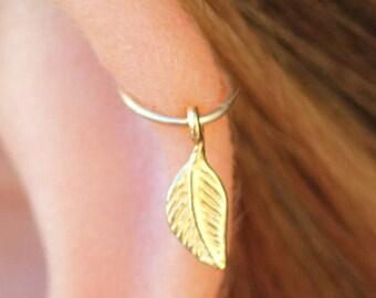 Gold Piercing,Tiny Leaf Piercing,Thin ear piercing,cartilage earring,cartilage hoop piercing