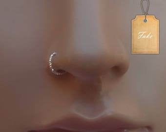 Fake Nose Ring Hoop,nose hoop,nose Piercing,22g nose ring,tiny silver nose ring,fake nose ring,fake nose ring jewelry,