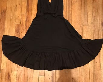 Vintage 1950s black rockabilly party dress size S