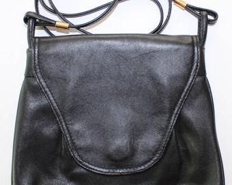 Vintage black leather Papillon crossbody purse/ Retro black crossbody bag by Papillon