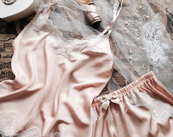 Eloise - satin silk camisole top and french knickers with lace, nightwear, satin sleepwear, pajama, made to order