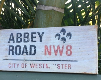 ABBEY ROAD NW8, Reclaimed Timber Sign, Fun, Rustic, London Street Signs, White Wash, Gift Ideas, Man Cave, The Beatles,