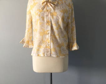 1960s Yellow White Floral Roses Flower Blouse with Bow, Australian Hibodress Sydney, Sixties Secretary Shirt, Ruffle Sleeve, Tetoron Fabric