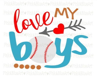 Love my boys baseball SVG Clipart Cut Files Silhouette Cameo Svg for Cricut and Vinyl File cutting Digital cuts file DXF Png Pdf Eps