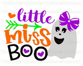 Little Miss BOO Halloween SVG Clipart Cut Files Silhouette Cameo Svg for Cricut and Vinyl File cutting Digital cuts file DXF Png Pdf Eps