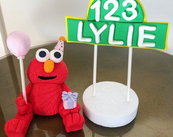 Fondant Elmo, Fondant Sesame Street, Elmo Cake Topper, Birthday Elmo