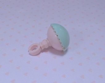 BABY RATTLE~*My Little Pony*~*G1~Small Aqua/Pink~Sweet Dreams Crib