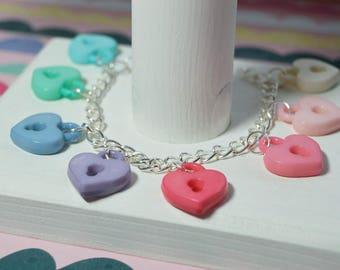 Kawaii Pastel Charm Bracelet * Padlock Hearts <3