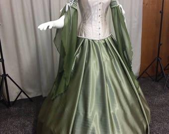 Fae dress, fairy wedding dress, woodland dress, handfasting gown, medieval dress, renaissance clothing, olive wedding dress, corset, elven