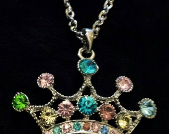 Crown necklace with Multi-color stones