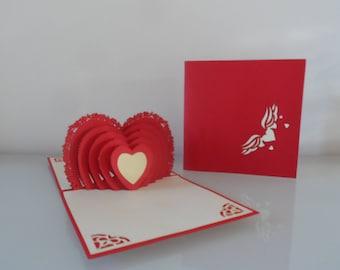 Love Heart Pop up Card Wedding- Engagement- Anniversary (sku043)