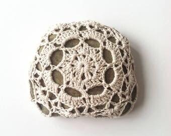 Crocheted River Stone no. 1 / Crochet Covered Stone, Crochet Rock, Mandala Stone, Lace Stone, Altar Stone, Eco, Cottage, Boho, Shabby Chic