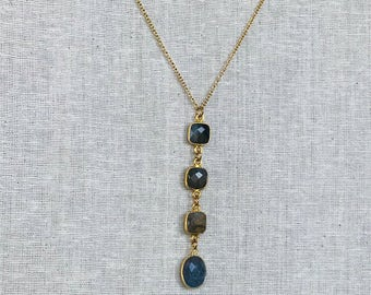 Collar necklace gold plated LABRA and 4 stones Labradorite gemstone