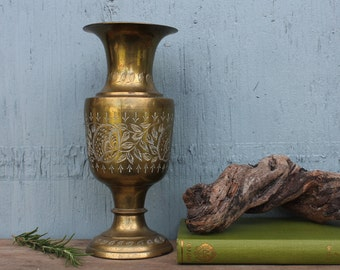 Engraved Brass Vase from India