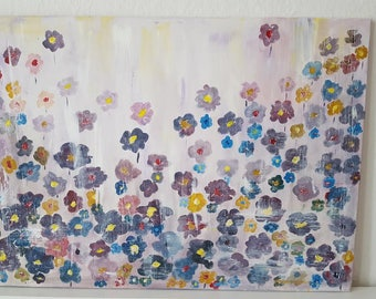 Contemporary Abstract Flowers Painting on Canvas