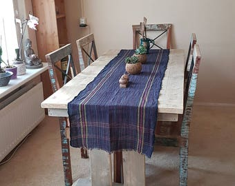 Handgeweven en handgemaakt, Bali blue Table Runner Handwoven Organic Cotton