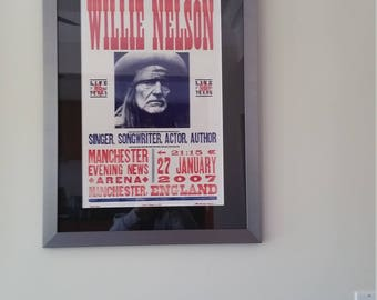 Willie Nelson Hatch Show Print, Custom Framed