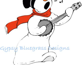 Banjo Playing Snowman Christmas Card YOU PRINT