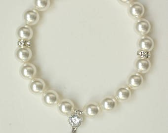 Bridal Pearl Bracelet for Wedding, Crystal Pearl Wedding Jewellery, Swarovski Pearl Bracelet with Crystal and Magnetic Clasp