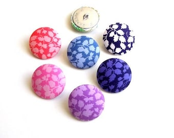5 buttons covered in liberty Glenjade size and color optional, buttons in France