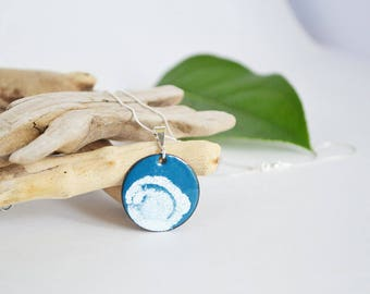 Blue and White Enamel Pendant Necklace