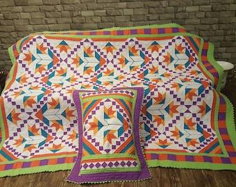 Handmade Patchwork Quilt Set.