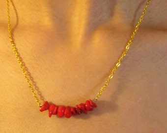 Red Coral Boho Chic Necklace Handmade Gift Trendy Gold Red Chain Stone Minimalist Contemporary Hot Mother Sweetheart Personalized Gift