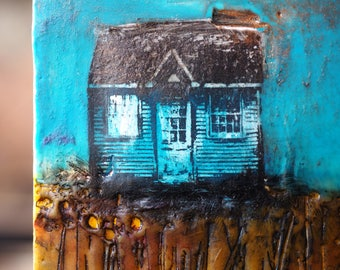 Little Blue House, original encaustic painting, wall art on cradled panel