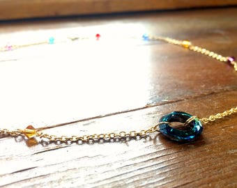 Aquamarine Swarovski Beaded Chain Necklace