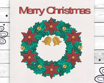 Christmas wreath Merry Christmas embroidery Christmas embroidery Cute little embroidery Home Decoration INSTANT DOWNLOAD EE5165