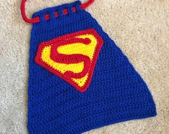 Superman Superhero DC Comics Hero Inspired Infant Newborn Baby Outfit Cape Crochet Photography Photo Prop