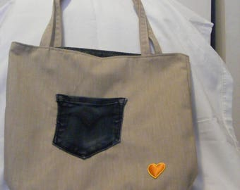 Beige and Green Market/Beach/Tote Bag made with repurposed jeans