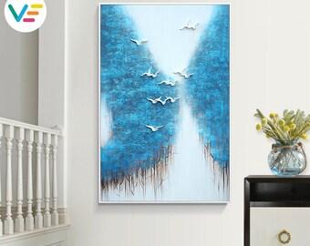 Acrylic Painting Textured Canvas Relief Landscape, Wall Art, Sculpture, 3D Art, Contemporary Artwork, Home-Office-Business