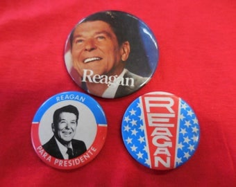 Ronald Reagan Campaign Pin Back Button lot of 3 Vintage 80s