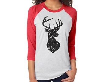 Deer Christmas Shirt, Merry, Raglan Shirt, Christmas Tee, Christmas Cheer, Holiday Shirt, RAGLAN DEER BLKINK