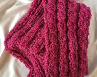 Hand Knit Raspberry Scarf