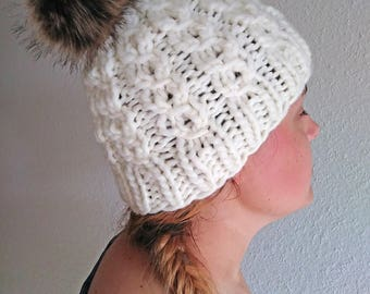 Handknit Beanie with Removable Faux Fur Ball