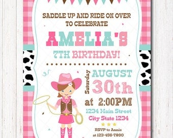 Cowgirl Birthday Invitation, Cowgirl Invite, Cowgirl Party, Printable