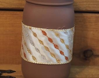 Fall mason jar with ribbon