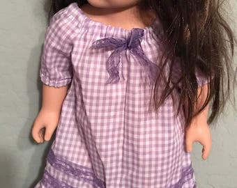 """18"""" Doll ruffled nightgown in lavender plaid and lace"""