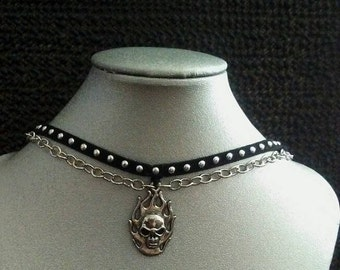 Two strand skull necklace