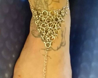 Barefoot chainmail sandal anklet jewelry