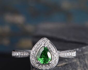 Tsavorite Engagement Ring Pear Shaped White Gold Diamond Cluster Ring Half Eternity Wedding Bridal Anniversary Ring Engraving Birthday Gift