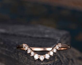 Curve Rose Gold Wedding Band Ring Thin Diamond Stack Ring Bridal Delicate Dainty Anniversary Antique Jewelry Half Eternity Ring For Woman