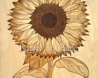Sunflower Pyrography Art Instant Digital Photo Download