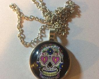 Colorful Skull Glass Cabochon Pendant Necklace-c95